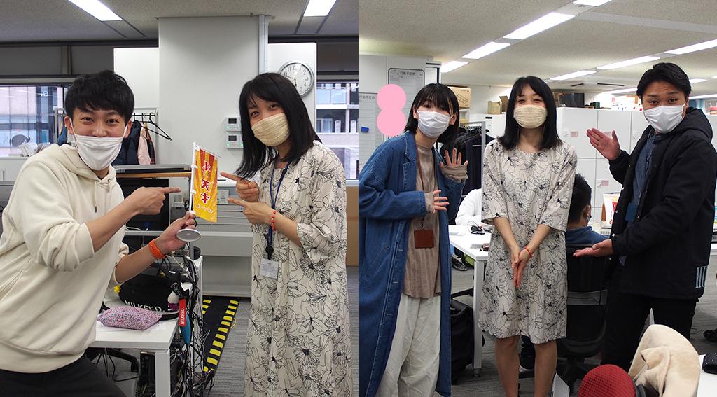 居内陽平アナウンサーと和田侑也アナウンサーと、パオーン担当西口さん